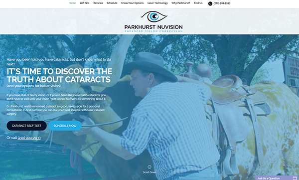 Parkhurst Nuvision Landing Page Example