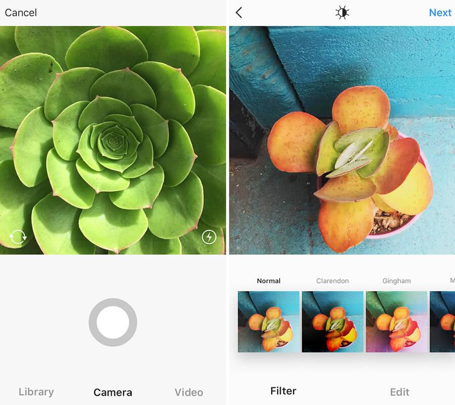 Screenshots from the Instagram App